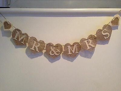 Wedding Mr And Mrs Hessian Shabby Rustic Heart Bunting Banner