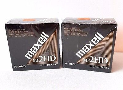 Lot 2 Maxell 3.5 1.44MB MF2HD High Density Pre-formatted Disk (2X10-Pack) SEALED