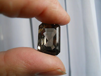 Very Large Faceted Smokey Topaz Quartz Stone-Unset Rectangle For Ring or Pendant