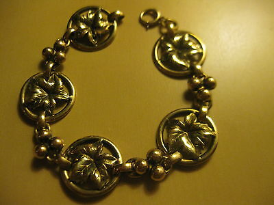 """Victorian/Georigian, Bliss Brothers Pure Silver, Gold-filled Leaf Bracelet, 7.5"""""""