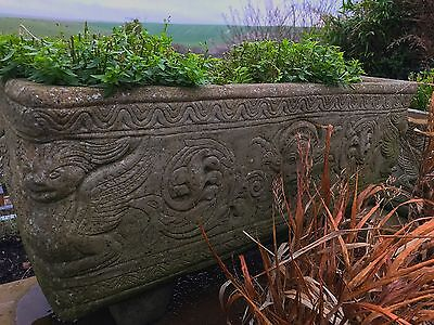 Pair of large stone garden trough planters with feet