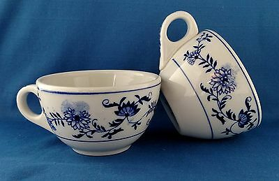 Vintage Blue Onion Sterling Restaurant Ware China Two Cups White 1971 1970