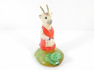 Selenite stone Goat with cabbage figurine from Russia