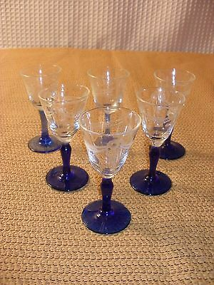 Antique Etched Cordial Glasses with Cobalt Blue Bases - 6 glasses