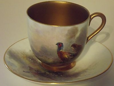 Royal Worcester Hand Painted Pheasan Cup & Saucer Signed J. Stinton