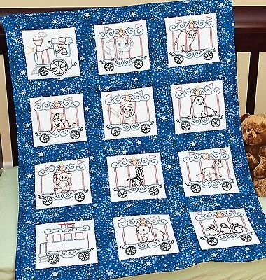 CIRCUS TRAIN NURSERY QUILT SQUARES EMBROIDERY PATTERN, From Jack Dempsey Inc.