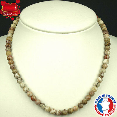 Collier Boules 6 Mm En Pierre D'agate Crazy Lace Naturelle