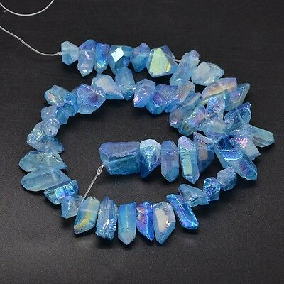 1X Electroplated Natural Quartz Crystal Beads Strands AB Color Dyed Blue
