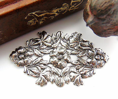 SILVER Art Nouveau Leaf & Flowers Stamping Jewelry Antique Silver Finding (FC-3)