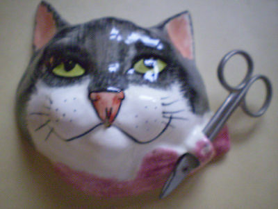 Babbacombe Pottery European Black n' white moggy wall string holder,Devon.C1990