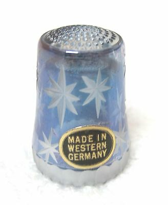 Older Thimble Hand Cut Crystal Light Purple w Stars Western Germany Luster M5