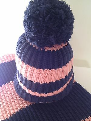 Jack Wills chunky knit striped hat and scarf pink & blue knitted beanie bobble