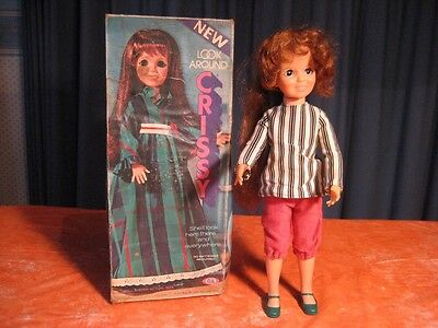 """1972 Ideal Look Around Crissy Doll With Box Working 18"""" Tall"""