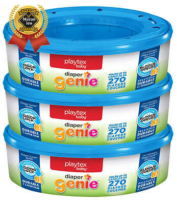Playtex Diaper Genie Refill, 270 Count, Pack of 3, New, Free Shipping ORIGINAL