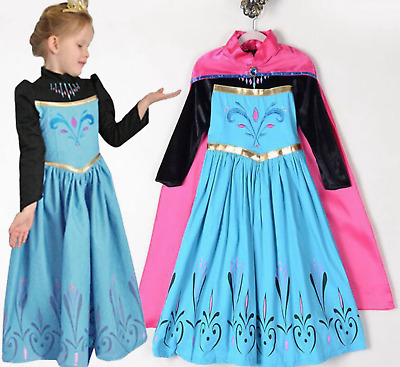 Girls Coronation Cosplay Frozen Elsa Princess Costume Party Fancy Dress + Cape & GIRLS CORONATION COSPLAY Frozen Elsa Princess Costume Party Fancy ...