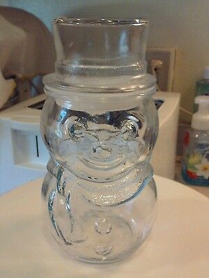 VINTAGE GLASS SNOWMAN JAR WITH LID (fill with goodies, use for crafts) MEXICO