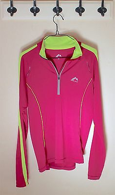 Womens Running Sports Jacket Sweat NEON PINK YELLOW / More Mile Size 10 UK S M