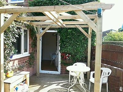 Wooden Garden pergola 1.8 x 1.8 x 2.1 with feature roof pressure  treated timber