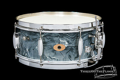 1950-53 Slingerland Radio King : BLUE DIAMOND PEARL : Snare Drum Vintage Nickel