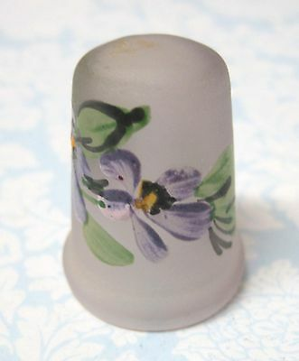 Older Thimble Hand Painted Purple Violets Green Leaves on Clear Frosty Glass M5