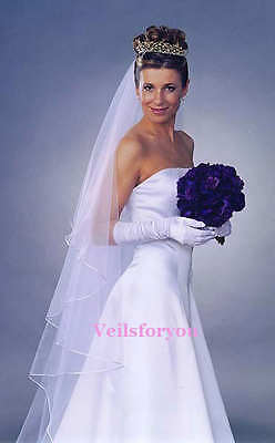 Chapel Length 2 Layers Long Satin Edge Wedding Veil Scattered  With *diamontes*