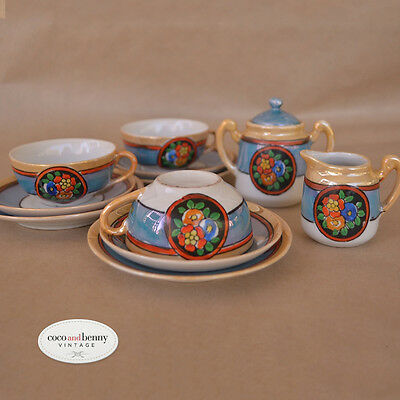 *Vintage 50's Children Miniture Tea Set 3 Cups Saucer Plate SugarBowl  Milk Jug