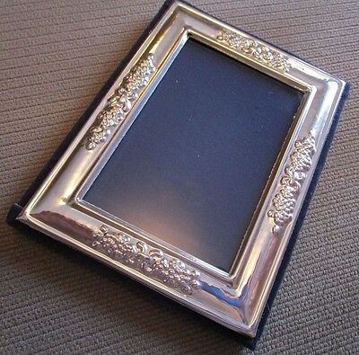 "Italian 925 Sterling Silver 5"" High Picture Frame  Raised Floral Design"