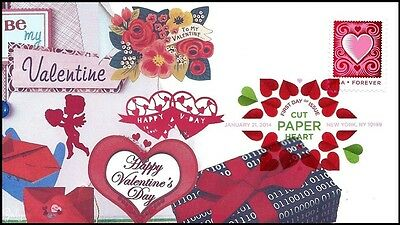 2014 Cut Paper Heart Valentine First Day Of Issue Cover w/DCP Cancel