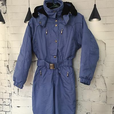 COULOIR Ski Suit One Piece Coat Hooded Belted Snowsuit Women's Size 6 Blue Vtg