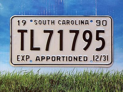 1990 South Carolina APPORTIONED License Plate TL71795 May Be Appor Trailer Mint