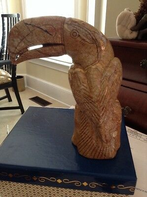 Toucan Carved Stone Statue Figurine Paperweight Made In Panama