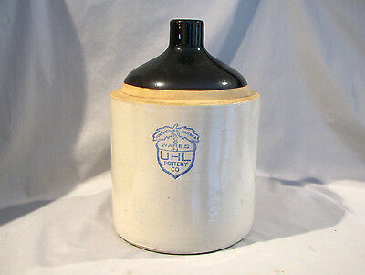 Uhl Pottery Acorn Ware 1 Gallon Jug - Remnant Of Bankers Label