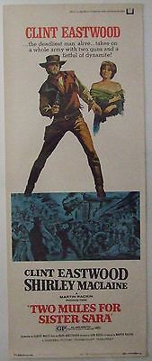 TWO MULES FOR SISTER SARA, CLINT EASTWOOD, Movie Poster 1970 USA INSERT, Orig