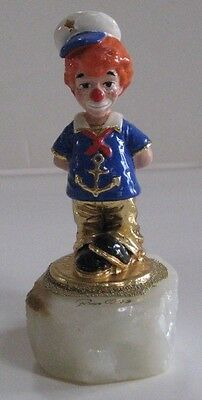 "Vintage 1993 Ron Lee ""Navy Hobo"" Clown Figurine CCG 7 w/Onyx Base"