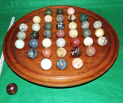 Wooden Solitaire Game Board with 38 x 30mm Semi-Precious Large Marbles Complete