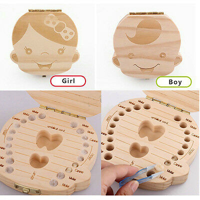 Tooth Box organizer for baby Save Milk teeth Wood storage box for kids Boy&Girl