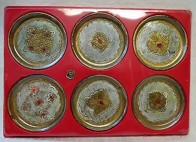 Set of Six Vintage Florentine Multi-Colored golden crown Coasters- Italy