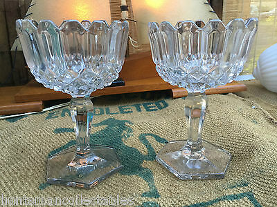 Lovely Pair of Large Antique Glass Stemmed Glass Serving Bowls Compotes