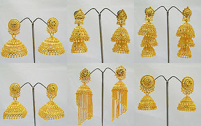 Gold Plated Jhumka Jhumki Earrings Long Indian Traditional Bollywood Jewelry
