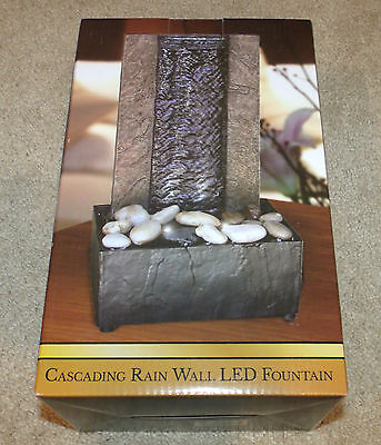 LED Indoor Cascading Rain/Water Fall Fountain-Wall/Rocks-Electric/Battery-New!