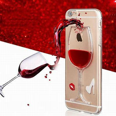 Red Wine Glass Moving Dynamic Liquid 3D Phone Case Cover For iPhone 5 6s 7 8Plus