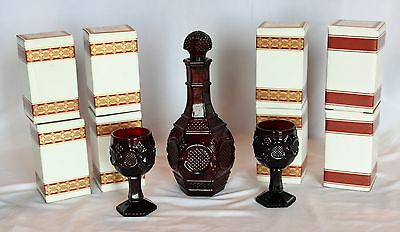 Vtg Lot Avon Cape Cod Ruby Red Glass Decanter & 8 Wine Goblets in Boxes