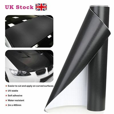 2m x 400mm 3D Carbon Fiber Vinyl Wrap Roll Film Decals Car Home Wallpaper Black