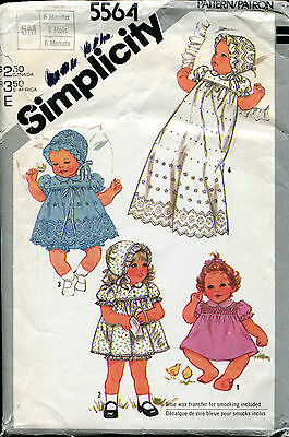 SIMPLICITY 5564 Smocked 6 Mnth BABIES' Smock Christening Baptism Gown Bonnet OOP