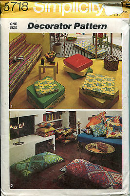 SIMPLICITY 5718 Set of Box & Knife Edge Pillows ©1973 Pattern MEDITATION CUSHION