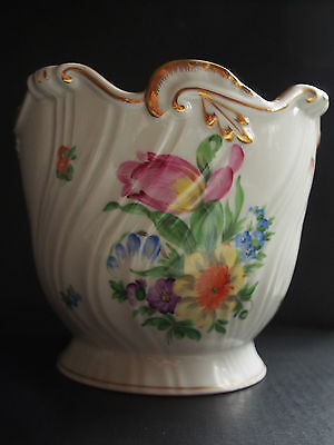 """HEREND #7227 Hungary Hand Painted Tulip Ribbed Planter Jardiniere Cachepot 6"""" FC"""