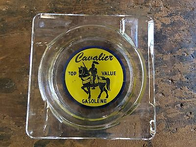 Cavalier Top Value Gasolene Ashtray Glass Square Yellow Green Advertisement
