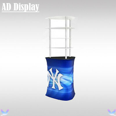 Exhibition Booth Triangular Promotion Table Banner With Acrylic Display Shelves