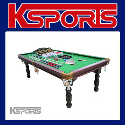 Pub Size Pool Table 8Ft Traditional Snooker Billiard Table  - Green - With Free