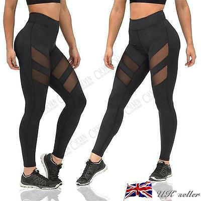 Womens Ladies Yoga Fitness Leggings Running Gym Stretching Sports Pants Trousers